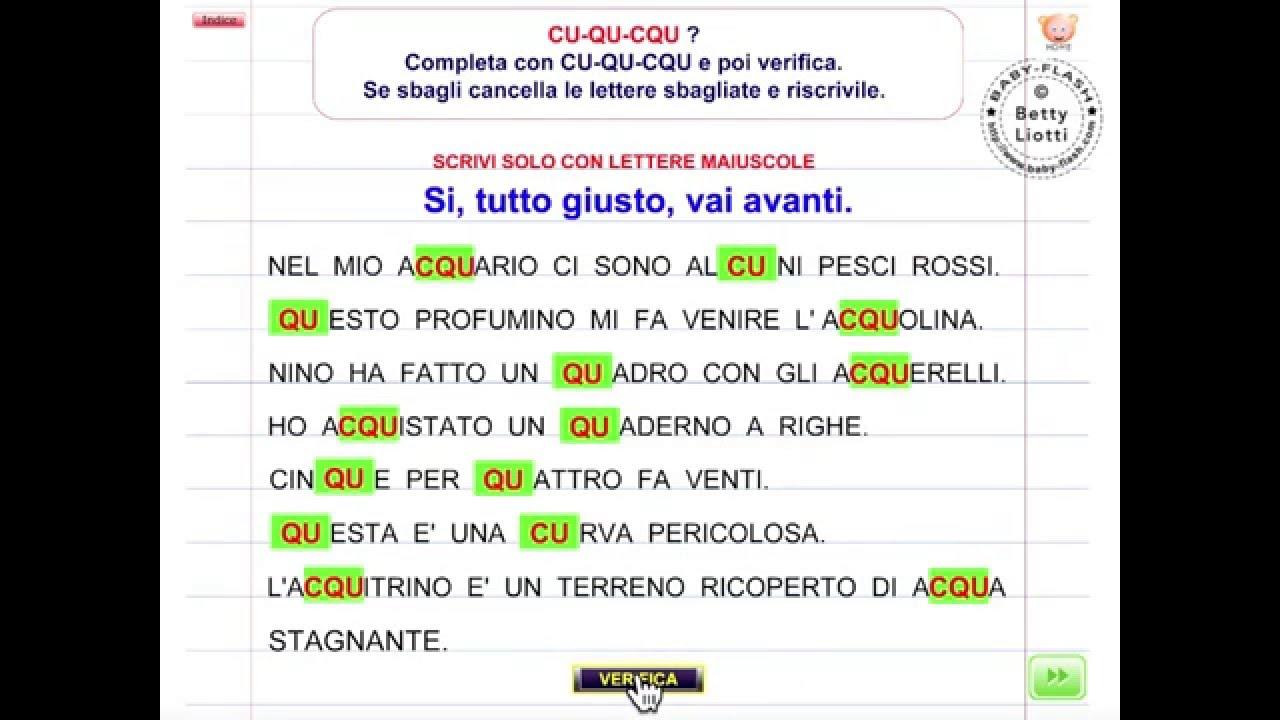 Italiano 28 esercizio con cu qu cqu youtube for Baby flash italiano doppie