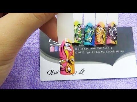 Thực hành hướng dẫn học vẽ bươm bướm bằng gel vẽ lên móng tay, vẽ bươm bướm nail 5