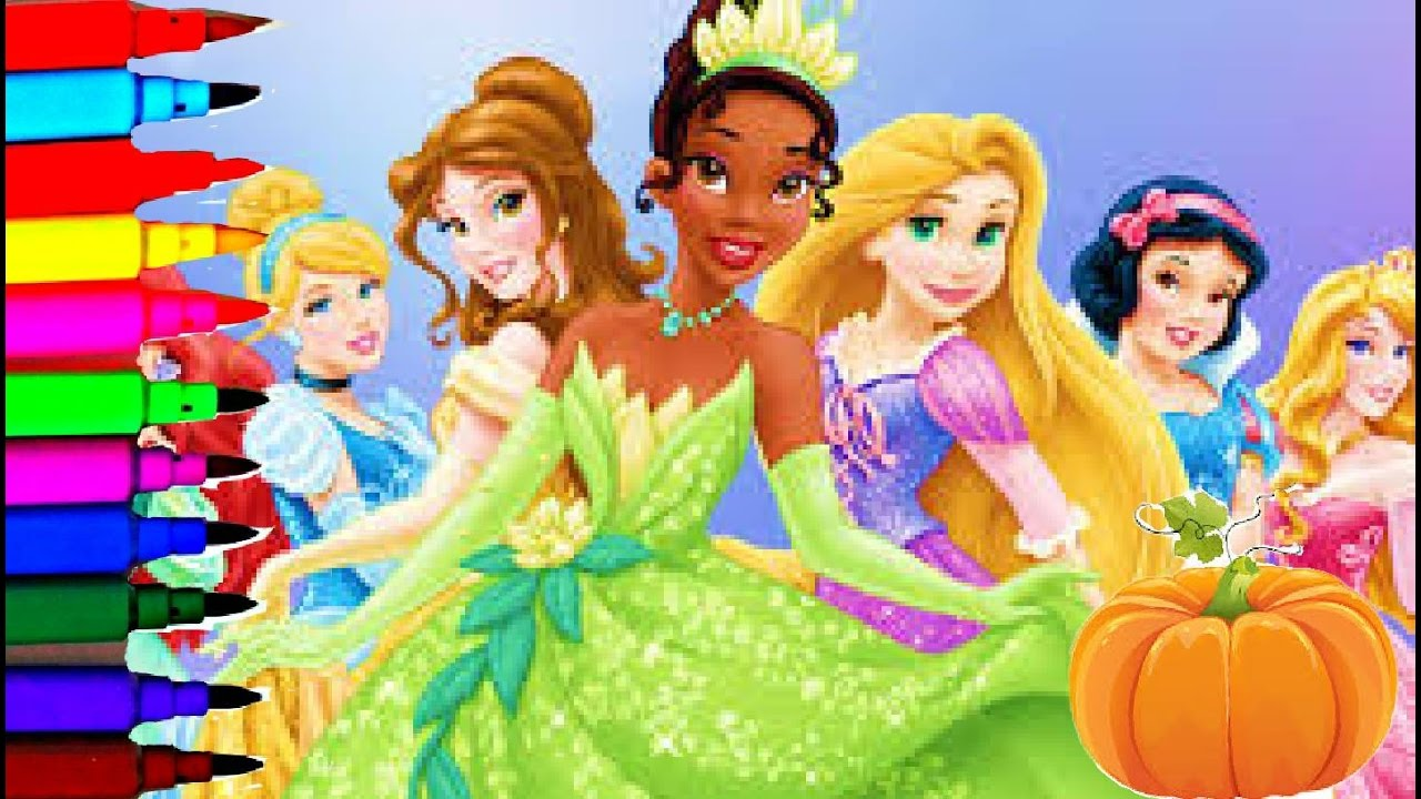 Disney Princess Halloween Coloring Book Pages Compilation