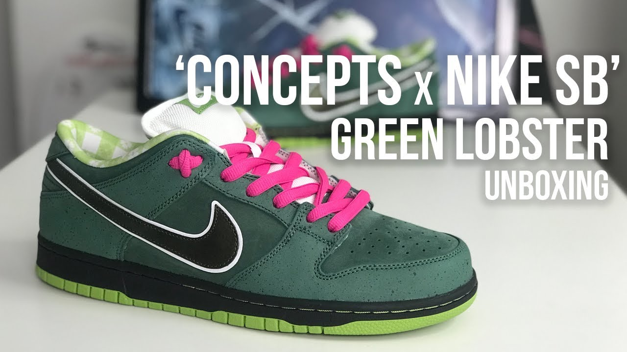 fe2c97f29c0b Concepts x Nike SB Dunk Low Green Lobster Sneaker Unboxing ... OH ...