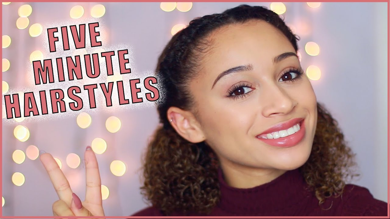 5 minute hairstyles curly-haired