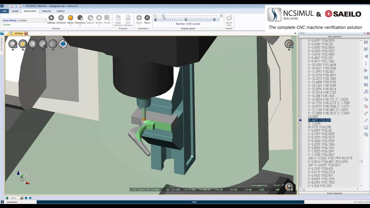 Cimatron NCSIMUL artifical bone video 4 (CAM+Simulation+Machining)