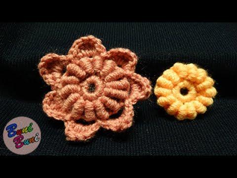CROSETAT - Floare cu  petale arcuri(Bullion Stitch)