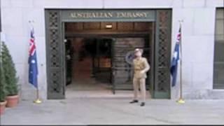Flippin' the bird at the Australian Embassy