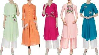 Latest Stylish And Trendy Designer Embroidered Chiffon Kurta/Kurti Dress Design Idea's/Fashion Updat