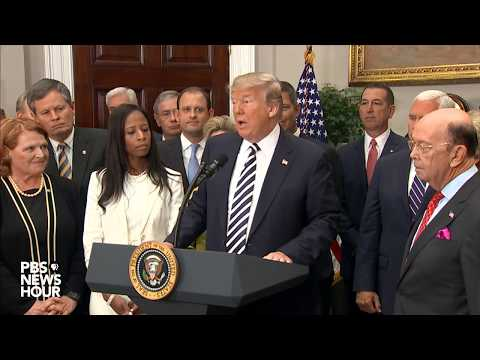 WATCH: President Trump discusses North Korea at banking bill signing