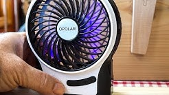 Portable Rechargeable Fan USB or battery powered by Opolar Model F20 Review
