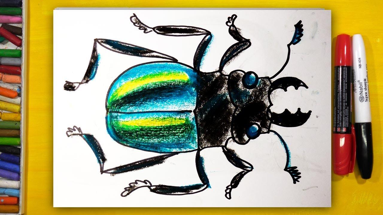 Как нарисовать ЖУКА, Урок рисования для детей от 3 лет ...