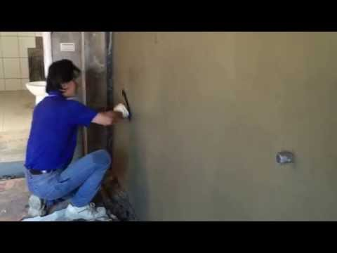 sand cement rendering on brick wall  ( steel trowel finsh )