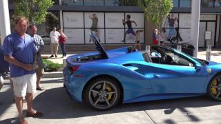 Supercar Saturday - 2017 Twin Turbo Blue 488 Ferrari Spider - Interview, Engine Start, Drop Top Demo