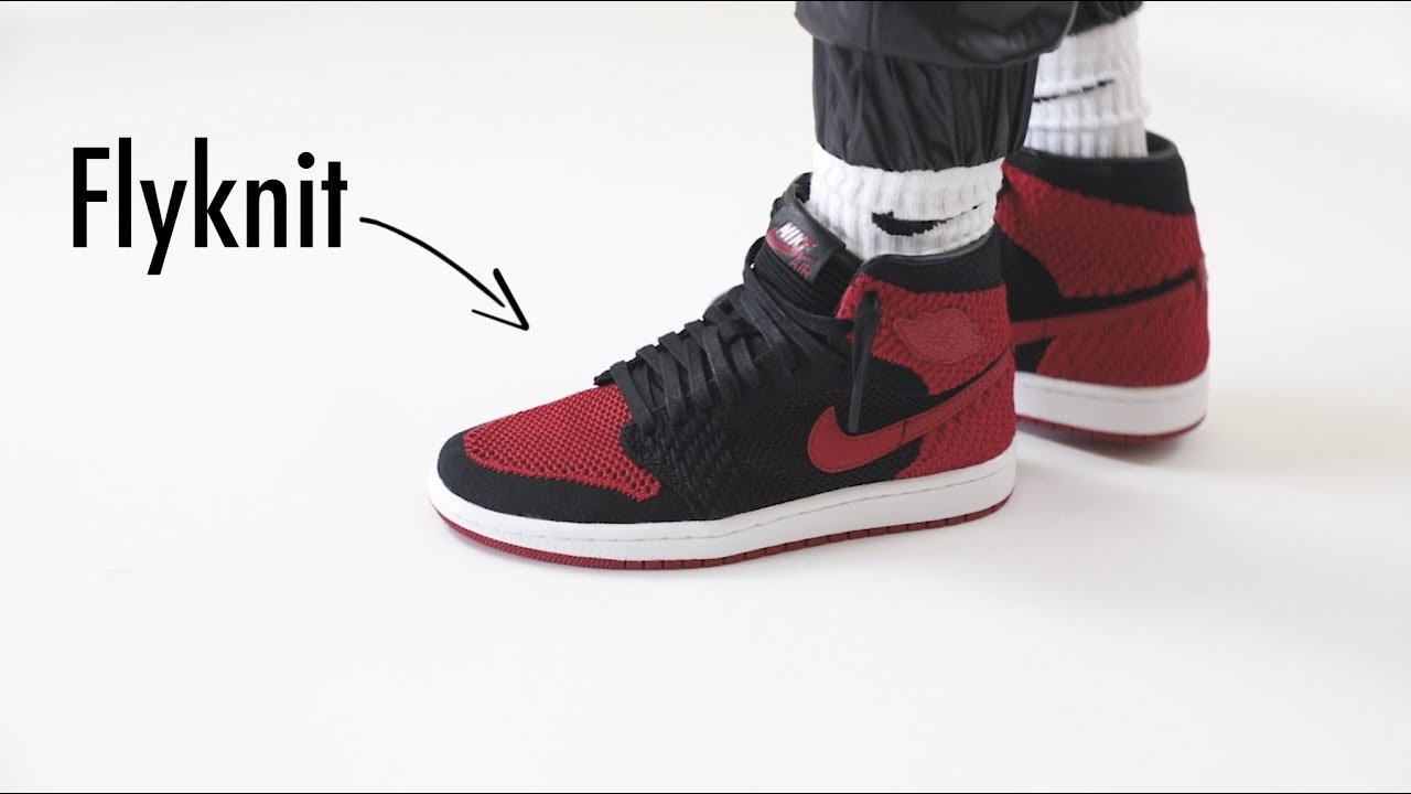 premium selection 1f8e0 95608 AIR JORDAN 1 FLYKNIT BANNED GS REVIEW   ON FOOT
