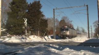 Amtrak Trains Blowing through the Snow on the Northeast Corridor 12/28/2010