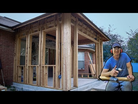 How I Framed Walls To Enclose Porch Patio, Vid #5