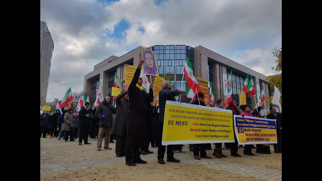 Brussels Demonstration against Iran regime's Terrorist Plots in Europe & violation of Human Rights i