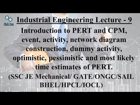 Industrial Engineering Lecture 9: PERT, CPM, Network diagram and 3 time estimates for PERT.