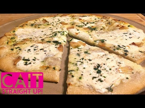 White Roasted Garlic Sauce Pizza Recipe | Cait Straight Up