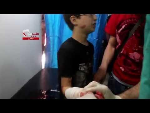 شام حلب حي الشعار أطفال جرحى جراء قصف لقوات الأسد استهدف الحي 22 5 2015