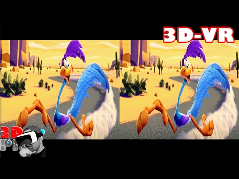 3D Looney Tunes Road Runner Compilation | 3D Side by Side (SBS) VR Active Passive