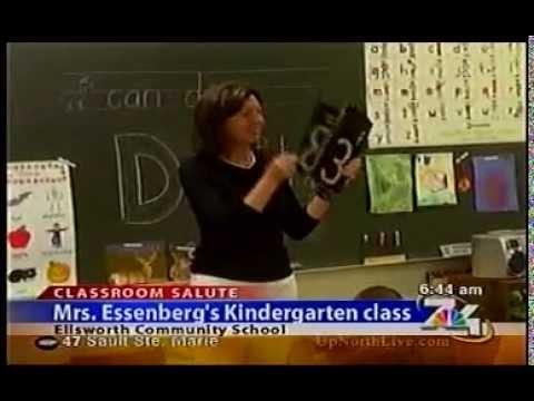7&4 classroom salute visits Mrs. Essenberg's Kindergarten class at Ellsworth Community Schools