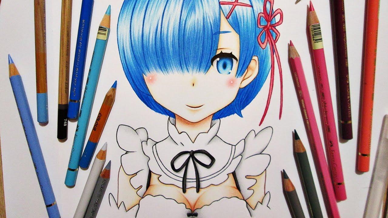 Аниме рисунки цветные карандаши