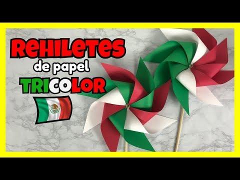 COMO HACER REHILETES DE PAPEL - REHILETES TRICOLOR | CREATIVA OFFICIAL 🎨❤️🇲🇽