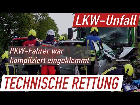 Frontalunfall mit LKW: Drei Verletzte auf der B442 bei Lauenau, Großaufgebot von Feuerwehr und RD