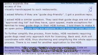 Khaw Boon Wan: Guide Dogs Now Welcome In Hdb Flats - 01feb2014