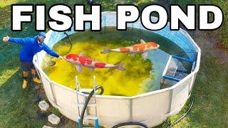 DIY HOMEMADE POOL FISH POND! *Giant Outdoor Aquarium*