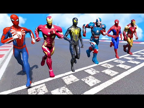 TEAM IRONMAN VS TEAM SPIDER-MAN   Running Challenge #4 (Funny Contest) - GTA V Mods