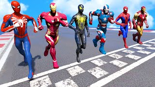 Team Ironman Vs Team Spider-man | Running Challenge #4  Funny Contest  - Gta V Mods