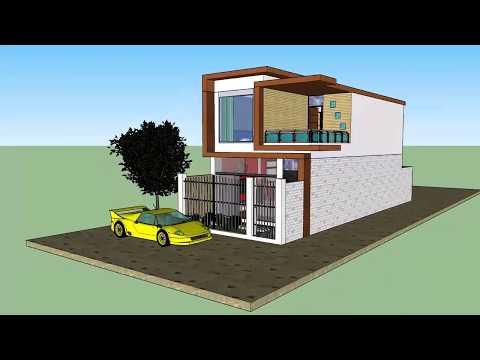 Plano de casa unifamiliar 5x15 sketchup