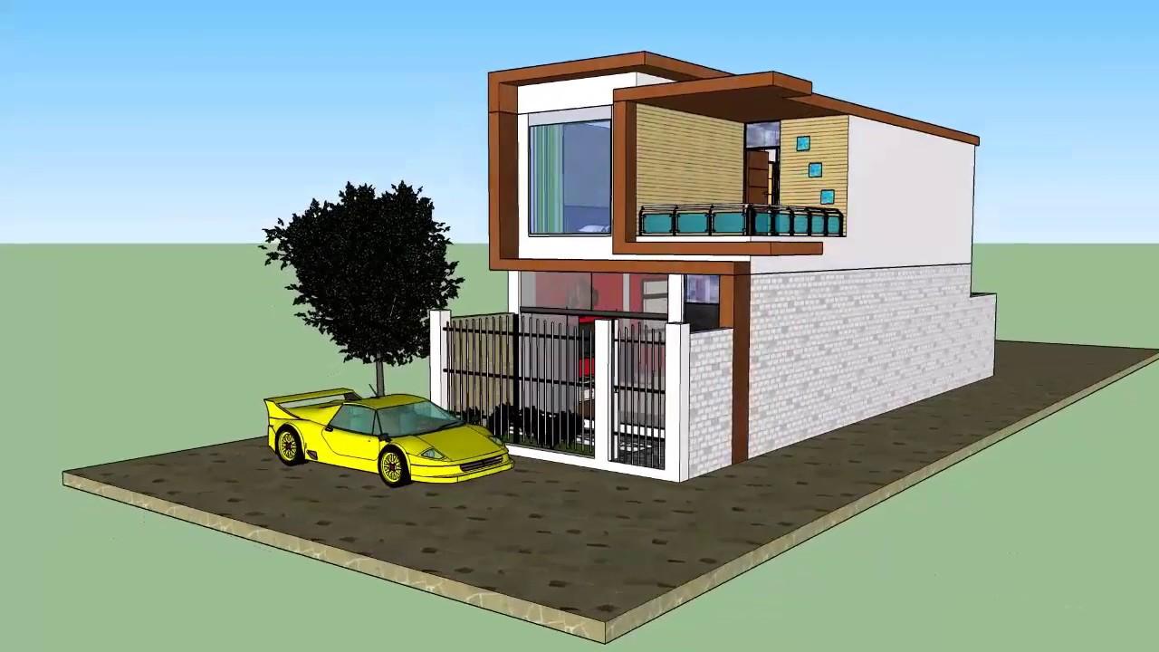 Plano de casa unifamiliar 5x15 sketchup youtube for Casa minimalista 4 5x15