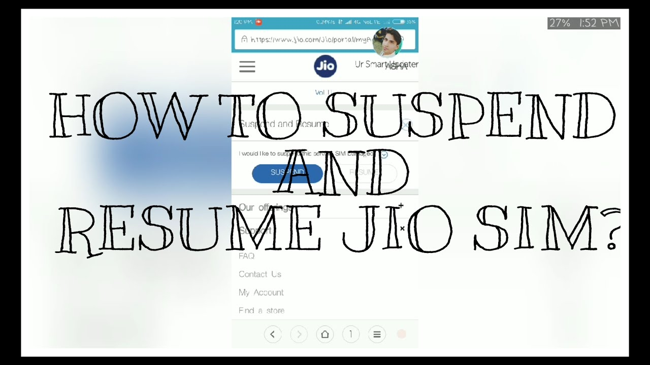 how to suspend and resume jio sim youtube