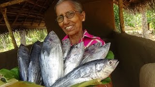 Tuna Fish Recipe ❤ Cooking Hot Small Tuna Fish Curry by Grandma - Village Life