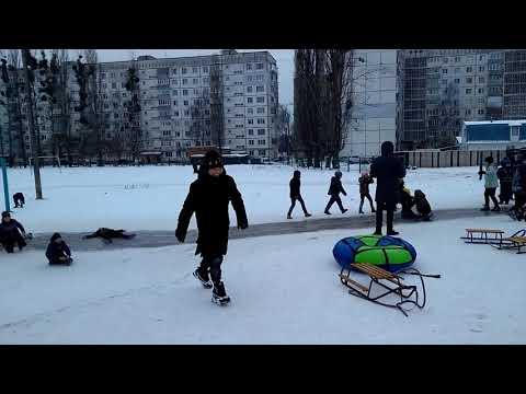 Веселі зимові гірки в Житомирі. Fun winter games in Zhytomyr