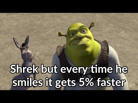 Shrek but every time he smiles it gets 5% faster
