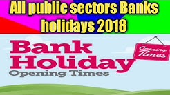 All public as well as private sectors bank holidays 2018 in delhi