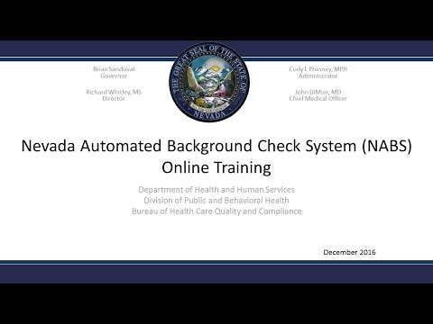Nevada Automated Background Check System (NABS) introduction tutorial