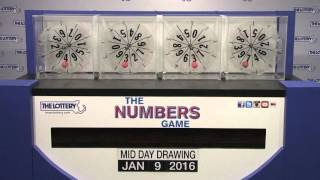 Midday Numbers Game Drawing: Saturday, January 9, 2016