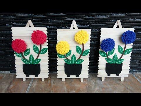 lagi viral!!! diy hiasan dinding dari stik eskrim+bunga flanel