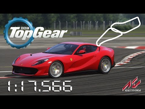 Assetto Corsa - 2017 Ferrari 812 Superfast - Top Gear Test Track Power Lap Times - 1:17.566