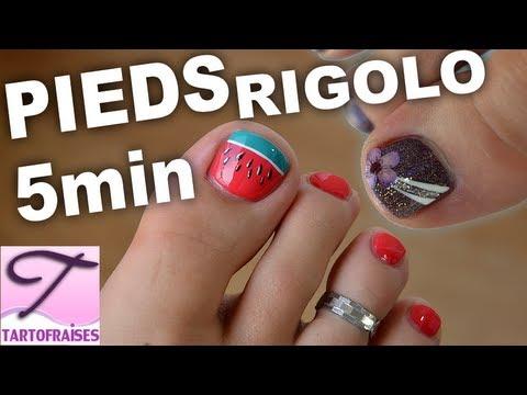 Nail art pieds Pastèque & vrai Fleur Séchée - YouTube