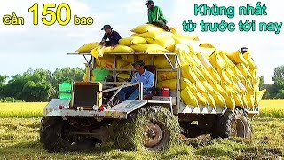 Huge self made truck tractor heavy load 150 rice bag use Belarus tractor engine