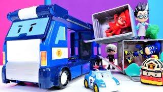 Pijamaskeliler Robocar Poli konteynerlerine mıknatıslanmışlar. Çizgi film oyuncakları