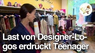 Teenager unter Last von Designer-Logos zusammengebrochen