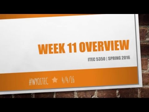 ITEC 5350 Spring 2016 Week 11 Overview