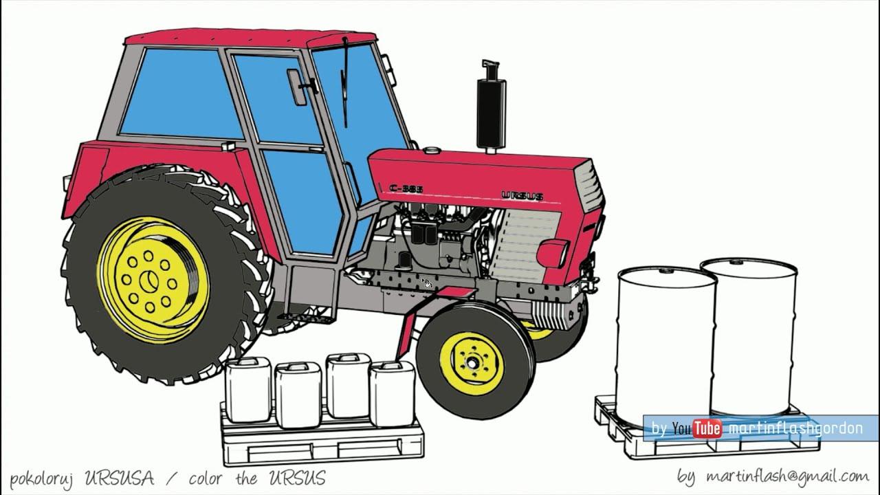 Traktor Kolorowanka Color The Tractor Pokoloruj Ursusa Youtube