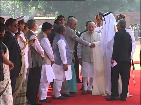 PM Modi with Emir of Qatar, His Highness Sheikh Tamim Bin Hamad Al-Thani at Ceremonial Reception