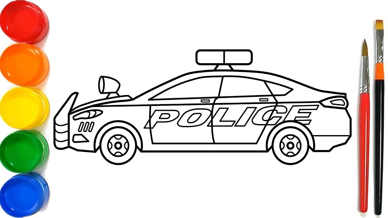 Glitter Police Car Coloring Pages | Mobil Polisi Halaman ...