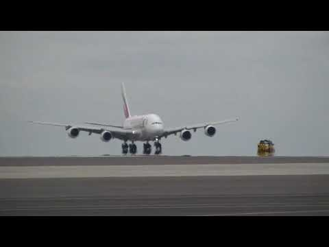 Emirates A380 Landing In Ghana with water salute in HD